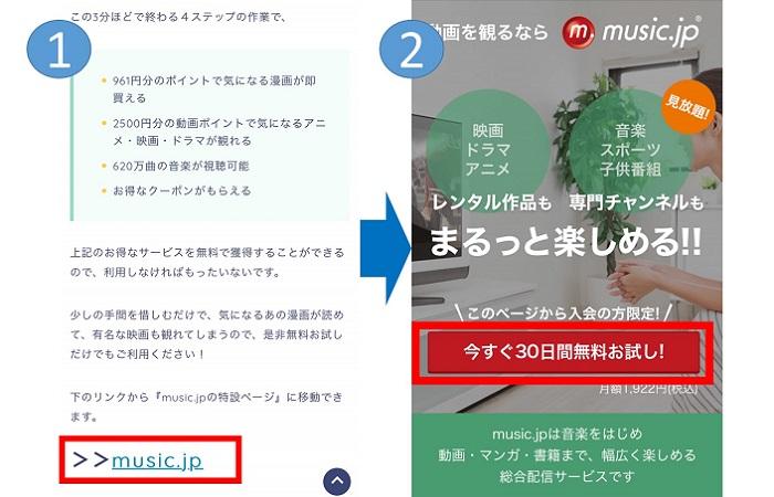 music.jpの登録の流れ①,②